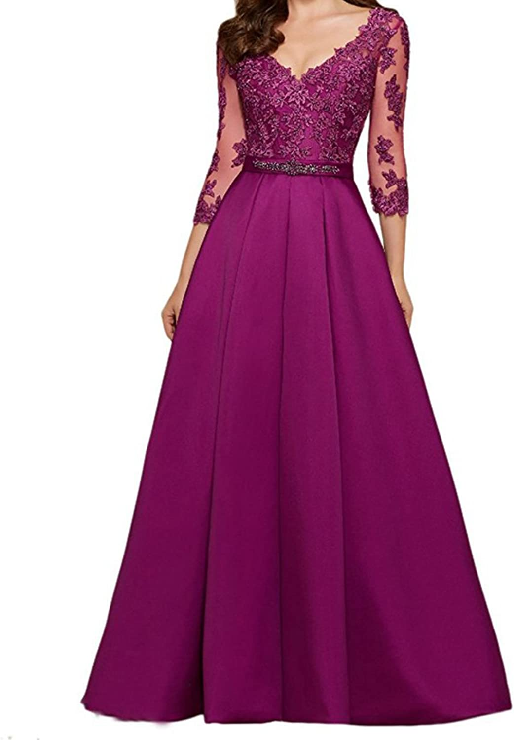 Ynqnfs Women's VNeck 3 4 Sleeves Prom Dress Lace Long Mother of The Bride Dresses
