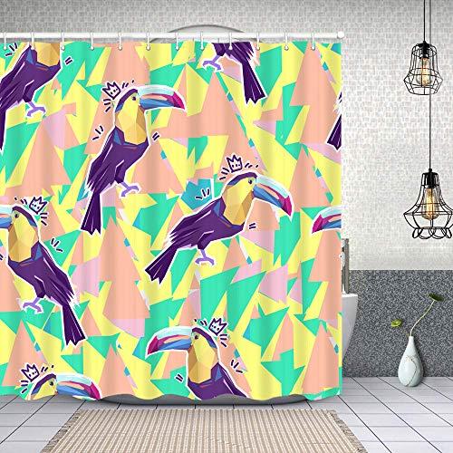 Duschvorhang wasserdicht Abstrakter Vogel des Tukan-Druckillustrationsmusters mit Haken, waschbare Bad Vorhänge 62x72 inch