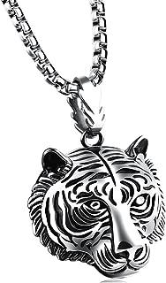 Fusamk Punk Rock Titanium Steel Animal Tiger Tag Pendant Chain Necklace