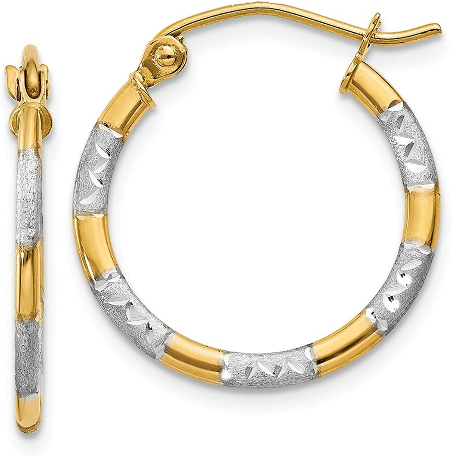 Beautiful rhodium plated gold and silver 14K rhodiumplatedgoldandsilver 14K & Rhodium Diamond Cut Hoop Earrings