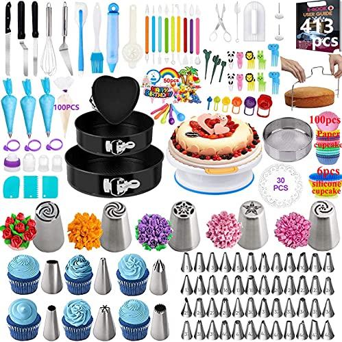 Nifogo Tortenplatte Drehbar Spritztüllen Set Kuchenform- 413 Stück Kuchen Dekorieren Set mit 3 Springform, 59 Edelstahl Spritztüllen, 1Kuchenplatte, 3 Silikon Spritzbeutel, 100 Muffin Cups (R-413PCS)