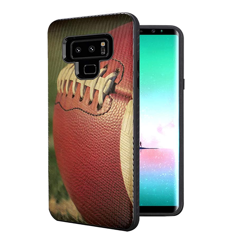 Capsule Case Compatible with Galaxy Note 9 [Embossed Diagonal Lines Hybrid Dual Layer Slim Armor Black Case] for Samsung Galaxy Note 9 - (Football)