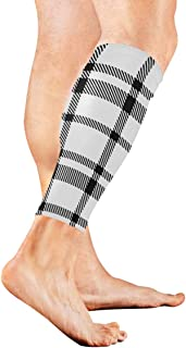 Monochrome Striped Lattice Black Calf Compression Sleeve Leg Compression Socks For Shin Splint Calf Pain Relief Men Women And Runners Improves Circulation Recovery