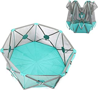 Baby Playpen Foldable Blue Tent Safety Play Center Yard Portable Toddler Fence Indoor and Outdoor with Carry Case  7-Panel