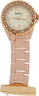 Henley Glamour Soft Touch Rose Gold Tone Purple Beauticians Fob Watch HF07.13