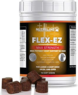 Nutriline Labs Flex EZ Glucosamine Chondroitin Soft Chews for Dogs, Superior Hip and Joint Supplement with MSM and Turmeric, Made in The USA
