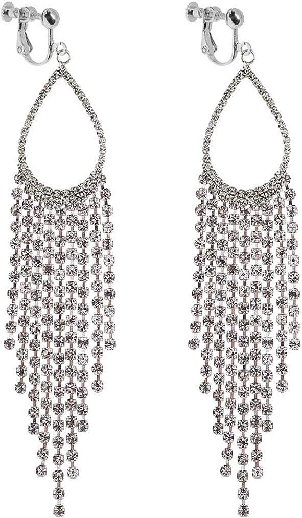 Waterfall Clip on Dangle Earrings for Women Girls Chandelier Geometric Teardrop Fringe Boho Tassel