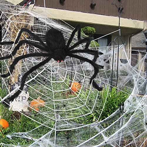 Decoración de Halloween, tela de araña con araña gigante, juego de telaraña elástica con 20 arañas falsas para casa embrujada