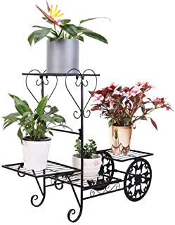 4 Tier Plant Shelf Stand Wrought Iron Garden Cart Flower Pot Display Rack Holding Small Plants, Succulents and Decors for Home Garden, Black