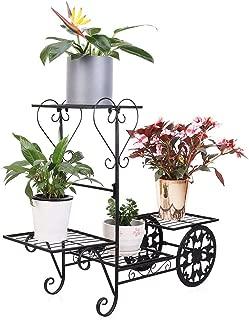 4 Tier Metal Plant Shelf Garden Cart Flower Rack Bonsai Pot Stand Holder with Display Shelves Load up to 77lbs, Black