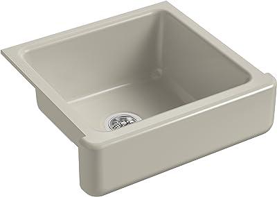 KOHLER K-5664-G9 Whitehaven Farmhouse Self-Trimming 23-1/2-Inch x 21-9/16-Inch x 9-5/8-Inch Undermount Single-Bowl Kitchen Sink with Short Apron, Sandbar