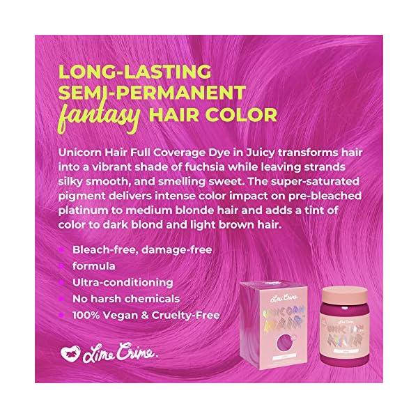 Lime Crime Unicorn Hair Dye, Juicy - Fuschia Fantasy Hair Color - Full Coverage, Ultra-Conditioning, Semi-Permanent, Damage-Free Formula - Vegan - 6.76 fl oz 5
