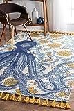 nuLOOM Thomas Paul Printed Flatweave Cotton Giant Octopus Area Rug, 5' x 8', Multi