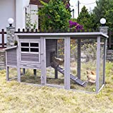 78in Large Wooden Chicken Coop Outdoor Poultry Cage, Chicken House Hen Coop w/Ramps, Run, Nesting Box (Grey)