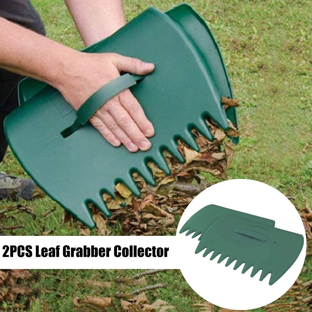 Green BLILI 1 Pair Large Leaf Scoop Hand Rakes Fast Leaf Ergonomic Hand Held Garden Rake Grabbers for Picking up Leaves,Grass Clippings and Lawn Debris