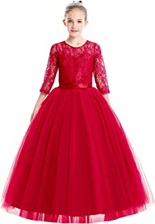 FYMNSI Flowers Girls Tulle Lace Wedding Dress First Communion Birthday Long Sleeves Princess Prom Ball Gown Dress 4-14T