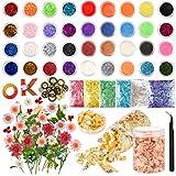 Sntieecr 81 PCS Kit per creazione di gioielli in resina con glitter, fiori secchi e ingranaggi a ruota Accessori in resina Kit di decorazione per nail art e resina fai da te
