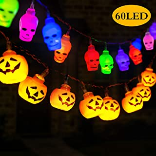 GIGALUMI Halloween Lights Decoration, 12ft 30LED(3D Orange Pumpkin,White Spooky Skull) at Each Halloween String Lights, Hanging Lights Battery Operated for Indoor/Outdoor Halloween Decoration Party