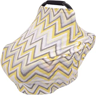 Nursing Cover, Privacy Breastfeeding Covers Baby Car Seat Canopy, Shopping Cart, High Chair, Stroller and Carseat Covers for Boys or Girls- Stretchy Scarf and Shawl(Gray+Yellow)