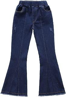 Girls Dark Blue Mid Waist Raw Hem Flare Bell Bottom Jeans