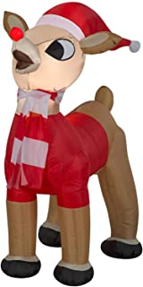 ESG Warehouse 42 Inch Rudolph in Santa Outfit Inflatable Christmas Outdoor Yard Decor Pre-Lit LED Airblown Holiday Decorations