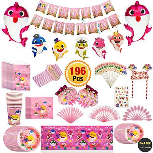 196 Pcs Pink Baby Shark Party Supplies Set Tableware Kit Birthday Decorations Balloons Tattoo Sticker