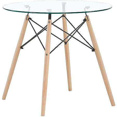 H.J WeDoo Ronde Table en Verre Table de Salle à Manger Scandinave Diamètre 80cm Moderne Style Nordique HxD: 75 x 80 cm en Verre trempé, Transparent
