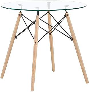 IPOTIUS Table Salle à Manger en Verre Ronde Scandinave 2 à 4 Personnes Table de Cuisine Moderne avec Pieds en Bois 80x72cm