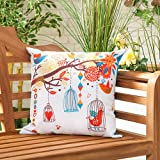 Bird Song Water Resistant Canvas Outdoor Scatter Garden Filled Cushion Printed 18