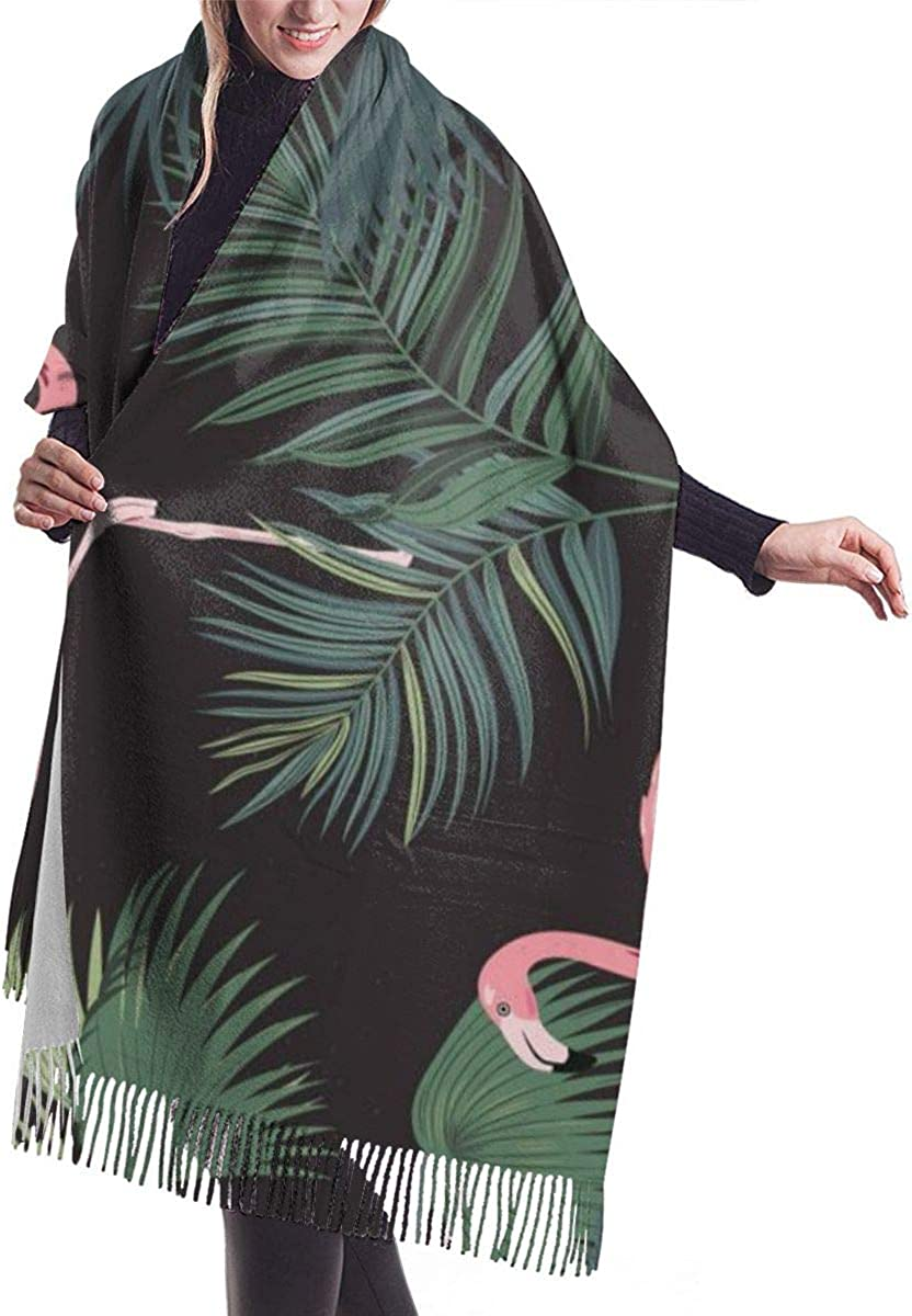 Tropical Flowers Leaves Men Long Shawl Scarves Winter Warm Thick Cashmere Scarf