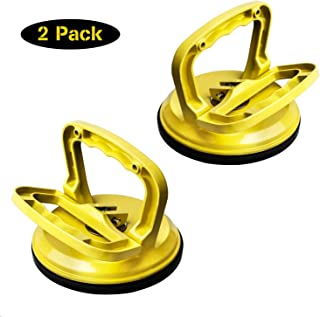 FCHO Glass Suction Cup Heavy Duty Aluminum Vacuum Plate Dent Puller Handle Holder Hooks to to Duty Galss Lifting/Floor Gap Fixer/Tile Suction Cup Lifter/Moving Glass/Pad for Lifting (2Pack)