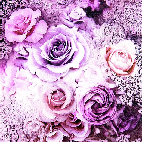 20 serviettes Eve Australie – Roses Violet Vintage/fleurs/Vintage/mariage/33 x 33 cm
