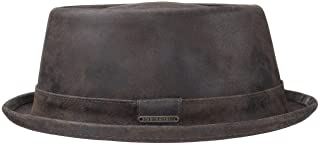 Stetson Pennsylvania Pigskin Leather Porkpie Hat Men's Leather Hat Made of Pigskin Leather Lined Pork Pie Robust Men's Hat Sizes S - XXL Used Look Summer / Winter
