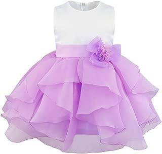 Freebily Baby Girls Sleeveless Organza Ruffled Tutu Skirt Princess Baptism Christening Cocktail Party Flower Girl Dress