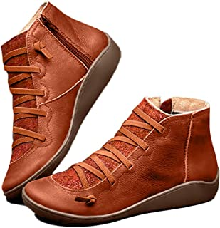LuluZanm Womens Leather Ankle Boots,Ladies Retro Lace-up Side Zipper Flat Shoes Rome Solid Color Outdoor Boots