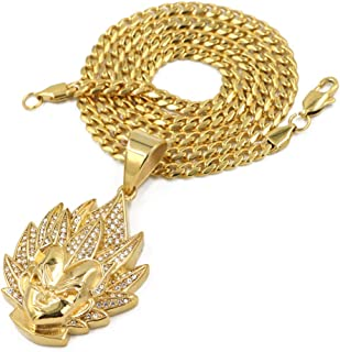 Stainless Steel Gold Iced Out Dragonball Goku Pendant w/Cuban Chain