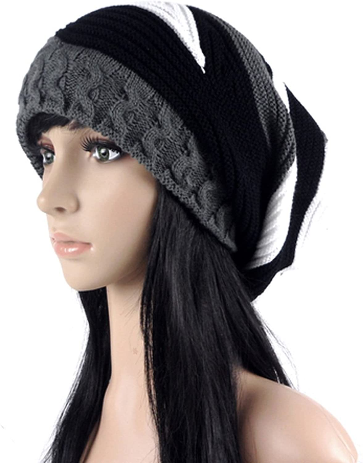 ALiberSoul Slouchy Baggy Beanie Contrast color Knit Hat