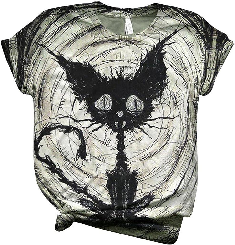 AODONG Halloween Shirts for Women, Womens Halloween Printed Shirts Summer Casual Crewneck Short Sleeve Tee Tops Blouse
