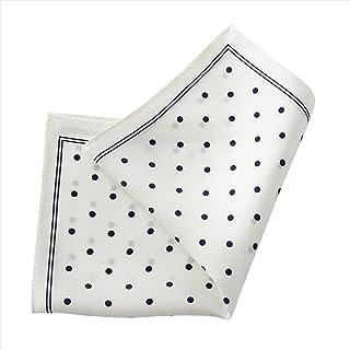 [オジエ] ozie【ポケットチーフchief】絹シルク100%?ドット柄?日本製?アンタイドやクールビズのきちんと感に/ネイビーブルー紺青xホワイト白