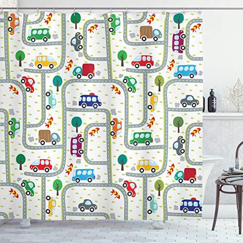 ABAKUHAUS Carros Cortina de Baño, Niños en Tráfico, Material Resistente al Agua Durable Estampa Digital, 175 x 200 cm, Multicolor
