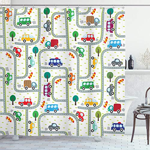 ABAKUHAUS Autos Duschvorhang, Nette Kinder, die auf Verkehr, Wasser Blickdicht inkl.12 Ringe Langhaltig Bakterie & Schimmel Resistent, 175 x 200 cm, Multicolor