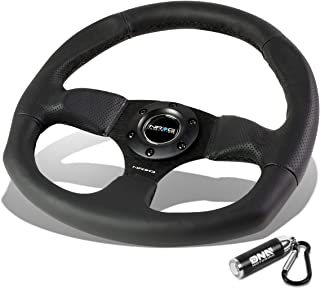 NRG Innovations Reinforced RST-009R Black Leather D-Shape Steering Wheel + LED Keychain Flashlight