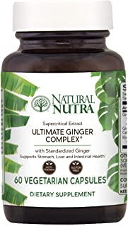 Natural Nutra Ultimate Ginger Supplement, Root and Supercritical Extract 10% Standardized Gingerols for Nausea, Stomach, Intestinal and Cardiovascular Health, 60 Vegetarian Capsules