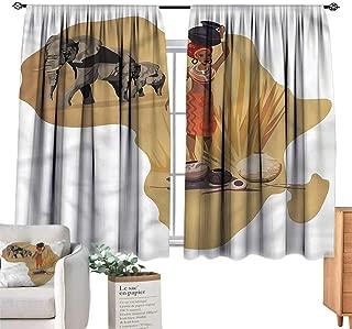 WinfreyDecor Safari Decor Curtains Local Lady Pottery Savannah Darkening and Thermal Insulating 55
