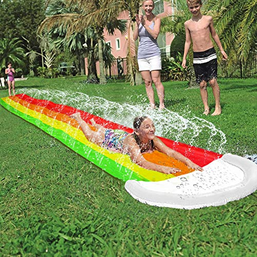 iGeeKid 14Ft Lawn Water Slides Rainbow Silp Slide with Spraying and Inflatable Crash Pad for Kids Boys Girls Children Lawn Garden Play Swimming Pool Games Outdoor Party Water Toys