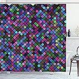 ABAKUHAUS Kariert Duschvorhang, Mosaik Pixel Muster, Personenspezifisch Druck inkl.12 Haken Farbfest Dekorative mit Klaren Farben, 175 x 180 cm, Multicolor