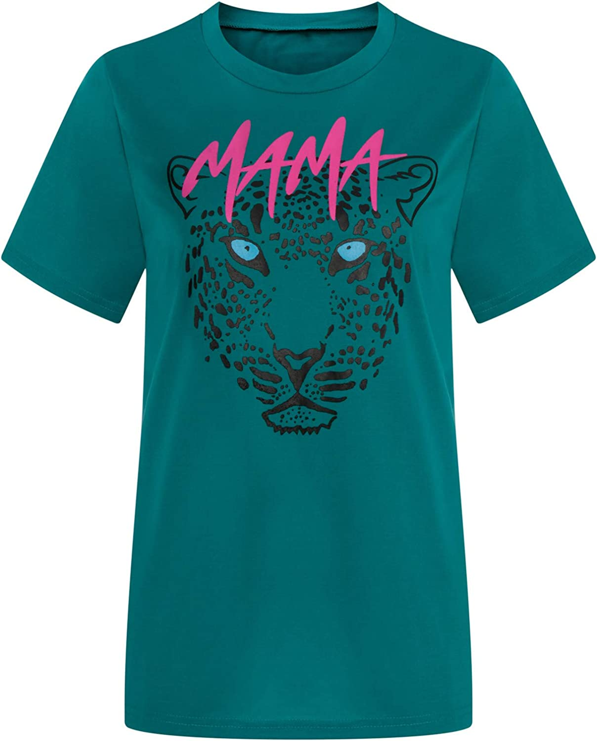Aukbays T-Shirts for Women Mama Graphic Letter Print Short Sleeve Tops Summer Loose Fit Caual O Neck Shirt Blouses Tees