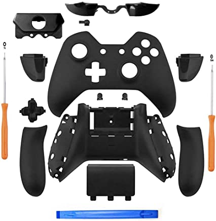 JVSISM Matte Black Controller Housing Shell Full Set Faceplates Buttons for One Controller with The 3.5 mm Headset Jack one controller shell kit with 3.5 port