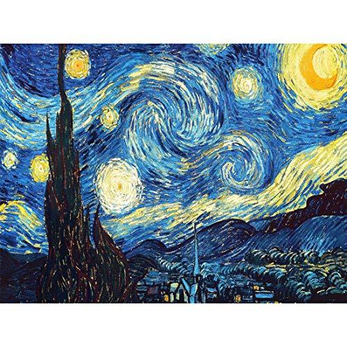 LUUFAN - Kit completo de pintura de diamante 5D para adultos y manualidades, decoración de pared de Van Gogh, noche estrellada (40 x 50 cm) Noche estrellada