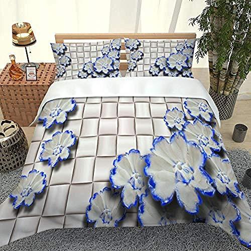 SUZIHUA Funda de Edredón Flor Azul Juego de Cama 3 Piezas Poliéster con Cremallera Oculta, 1 Funda Nórdica y 2 Funda de Almohada, 200x200cm